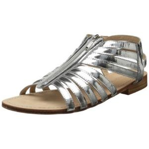 Metallic Silver Leather Zip Up Gladiator Sandal